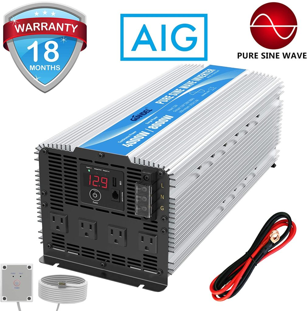 GIANDEL 4000 Watt Inverter - Pure sine wave with 4 outlets