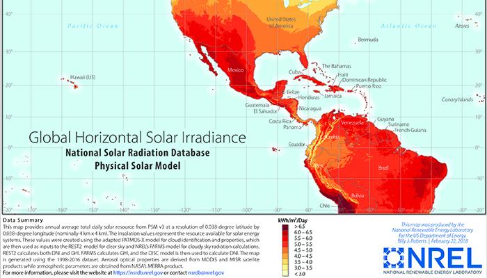 Irradiation Map for Western Hemispher