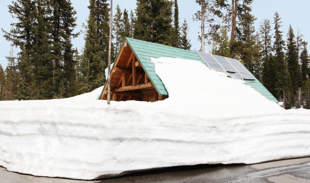 300 Watt Solar Panels On a Snow Covered Cabin